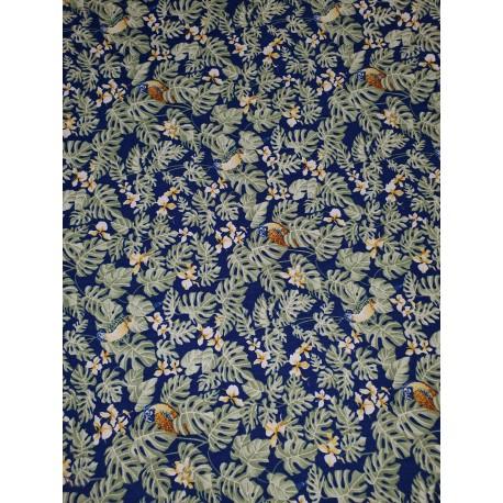 Cotton Tropical Parrot Blue
