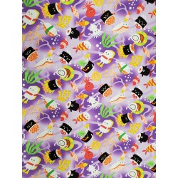 Cotton Sushi and Friends Purple