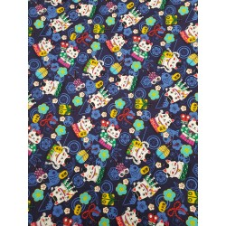 Cotton Maneki-Neko Cat Navy
