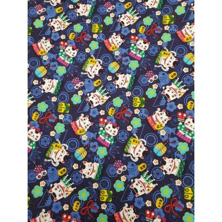Cotton Maneki-Neko Cat Navy