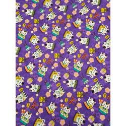 Cotton Maneki-Neko Cat Purple